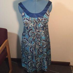 And Taylor blue paisley silk shift dress